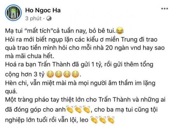 Hà Hồ tiết lộ Trấn Thành âm thầm gửi thêm 3 tỷ cho mẹ cô để cứu trợ đồng bào miền Trung