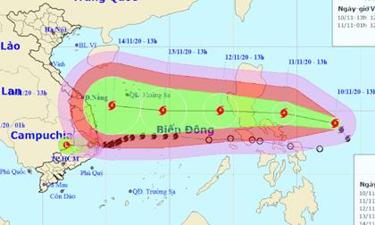 Bão Vamco sắp vào Biển Đông, giật tới cấp 15 nhằm hướng miền Trung