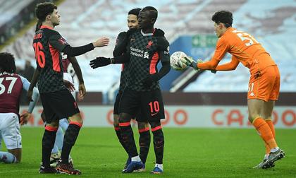 Năm phút ghi 3 bàn, Liverpool đè bẹp chủ nhà Aston Villa ở FA Cup