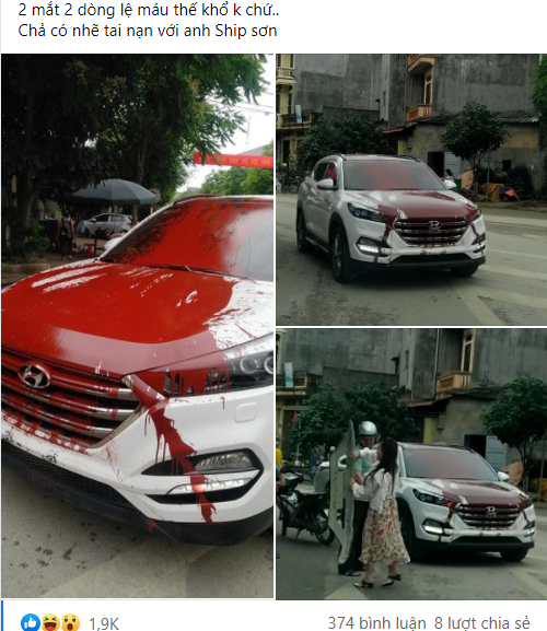 Hình ảnh chiếc ô tô trắng bị đổ sơn đỏ khắp thân xe khiến dân mạng bàn luận xôn xao ngày cuối tuần