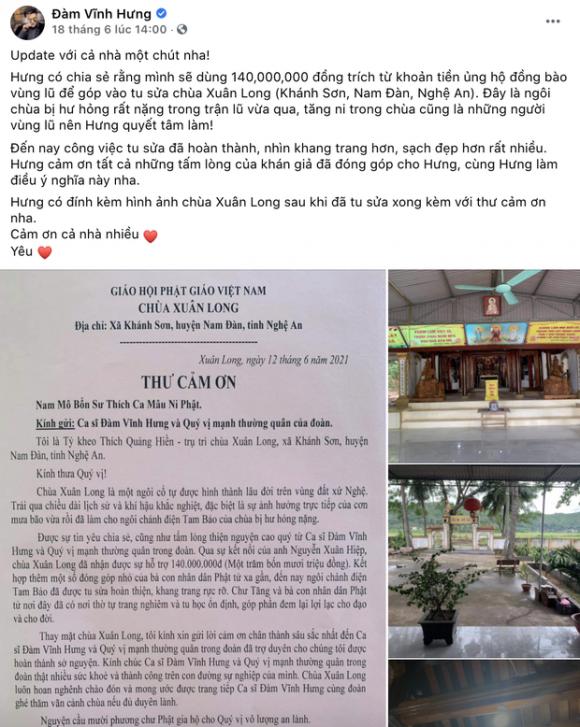 Đàm Vĩnh Hưng chính thức lên tiếng khi bị chỉ trích gay gắt vì dùng tiền cứu trợ miền Trung để đi sửa chùa ở Nghệ An - Ảnh 1.