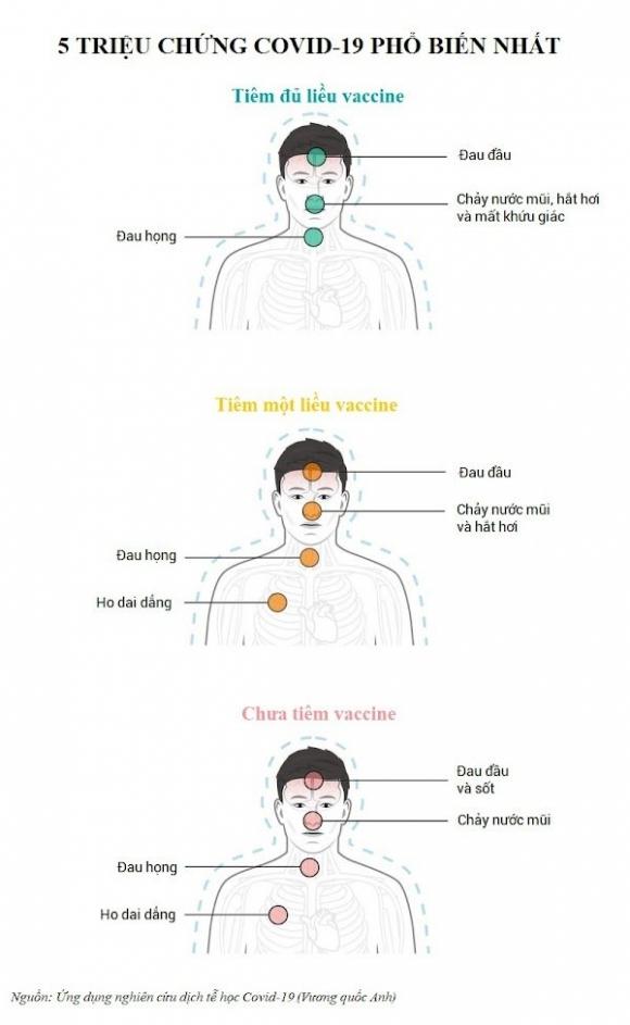 5 triệu chứng nCoV phổ biến nhất theo từng tình trạng tiêm vắc xin. Đồ họa: Insider/Zing