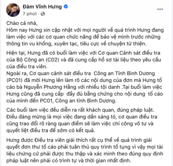 Nóng: Đàm Vĩnh Hưng xác nhận đã làm việc với cơ quan chức năng, tuyên bố cực căng về vụ kiện tụng với bà Phương Hằng! - Ảnh 2.