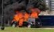 Xe sang Mercedes GL450 đang chạy bất ngờ cháy ngùn ngụt
